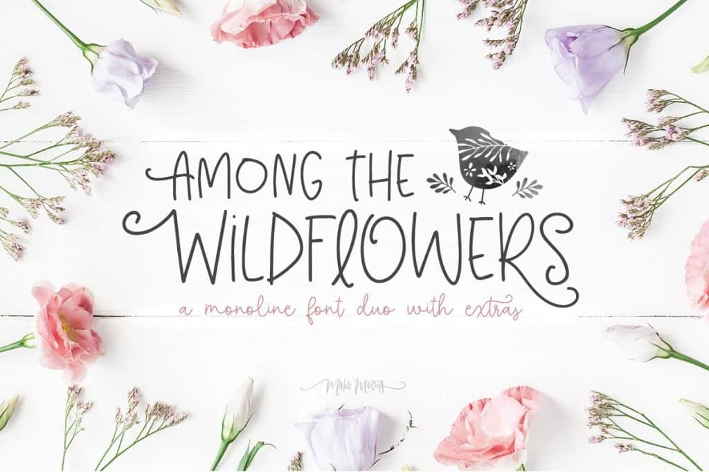 Among the Wildflowers monoline font duo on Creative Market. Check out 25 Gorgeous Font Duos That Will Instantly Transform Your Brand!