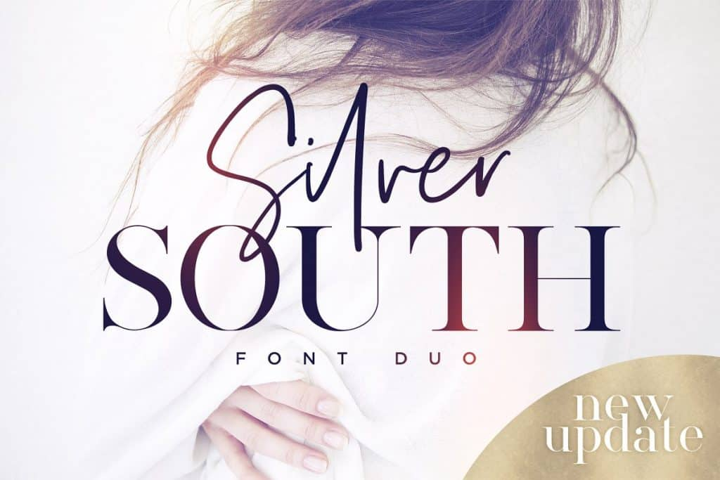 Silver South font duo on Creative Market. Check out 25 Gorgeous Font Duos That Will Instantly Transform Your Brand!