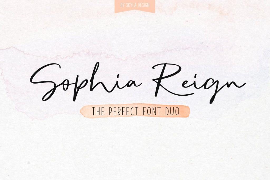 Sophia Reign font duo on Creative Market. Check out 25 Gorgeous Font Duos That Will Instantly Transform Your Brand!